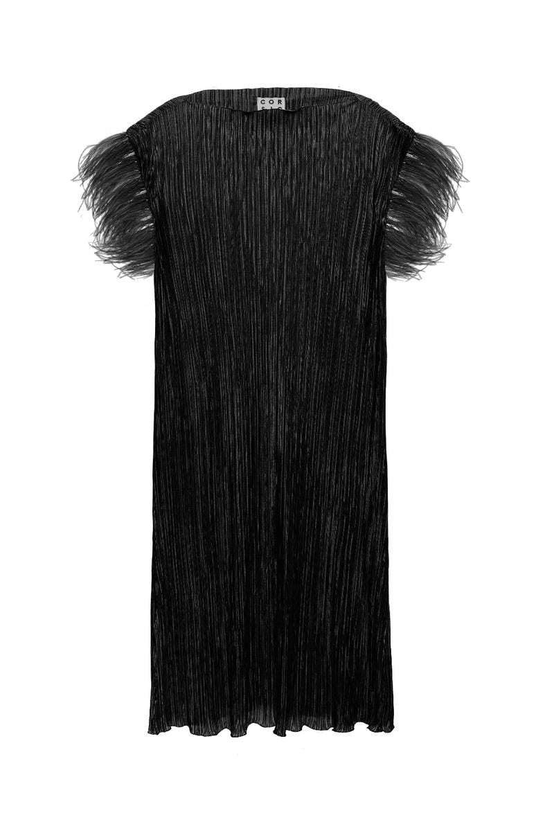 Previo Pleated Dress With Feathers - Black