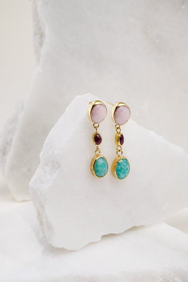 Ruby and pink opal earrings