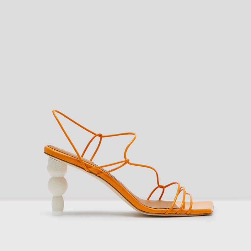 NAMI APRICOT LEATHER SANDALS