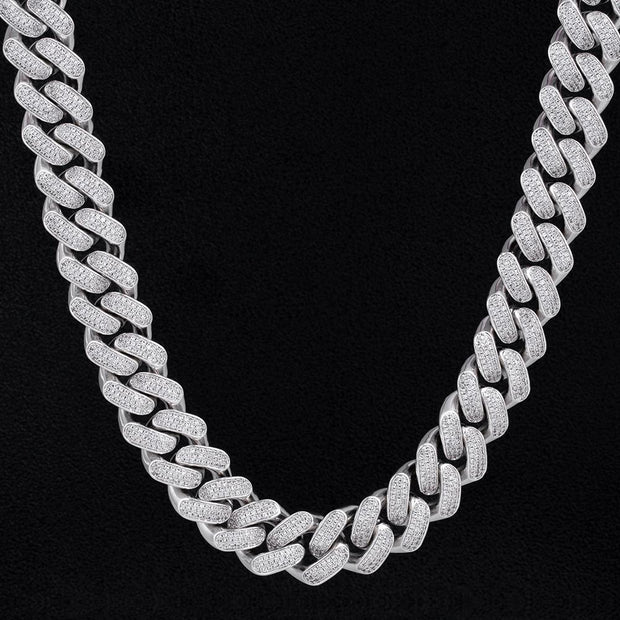 18MM Iced Cuban Chain Silver
