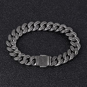 Dark Iced Out Black Cuban Link Bracelet Chain 12mm CELESTAL Jewellery