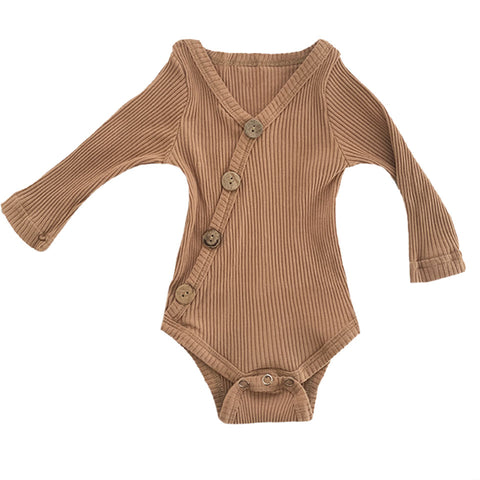 Brown Button Baby Romper