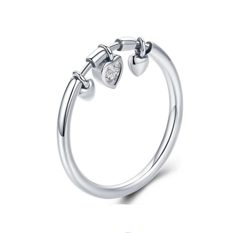 Sparkling Dangle Heart Ring