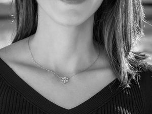 925 Sterling Silver Clear Zircon Minimalist Short Necklace for Women
