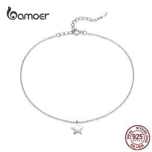 bamoer Simple Design Star Silver Anklet for Women Sterling Silver 925 Bracelet for Ankle and Leg Fashion Foot Jewelry SCT009 in-dev