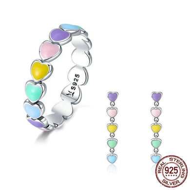 Silver heart ring and earrings in Rainbow colours for girls