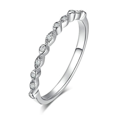 Silver thin stackable Ring with cubic zirconia