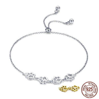 Adjustable Paw bracelet in silver