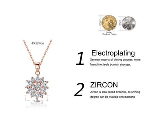 Process of making Flower necklace with cubic zirconia in rose gold with clear crystals