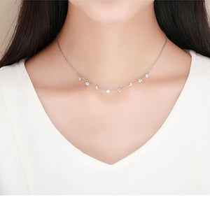 925 Sterling Silver Zirconia Circles Choker Necklace for Women