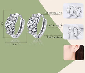 Process and specifications for Silver small hoop earrings with cubic zirconia