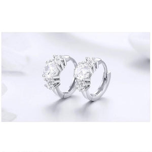 Silver small hoop earrings with cubic zirconia