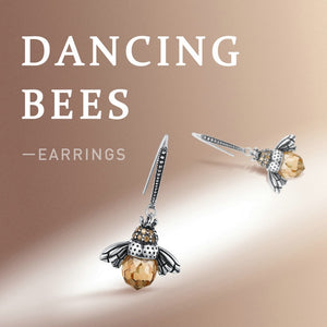 Dancing bees display for Orange bee silver necklace