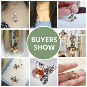 925 Sterling Silver Orange Bee Necklace for Women