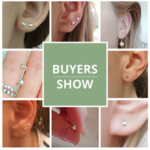 Load image into Gallery viewer, Buyers show photos for petite miniature heart stud earrings