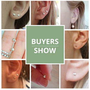 Buyers show photos for petite miniature heart stud earrings