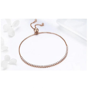 Adjustable rose gold  Bracelet with Sparkling clear Cubic Zirconia