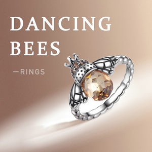 Dancing bees display of Orange silver bee ring