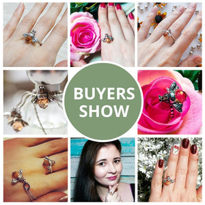 Buyers show for Orange silver bee ring