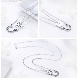 925 Sterling Silver Zirconia Double Layer Lucky to have you Horseshoe Necklace for Women