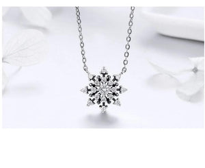 Snowflake silver necklace with cubic zirconia and poem