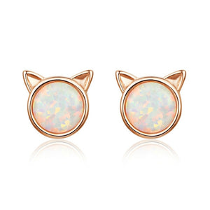 Cat ears stud earrings in rose gold with opal stone