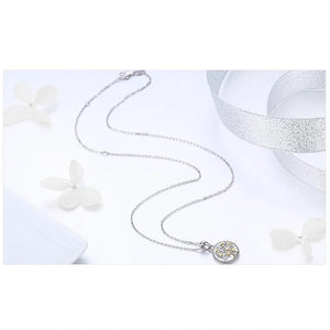 Silver Tree of Life Necklace with gold hearts