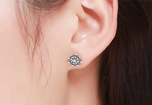 Snowflake silver earrings with cubic zirconia on woman