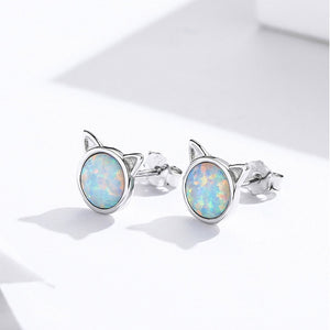 Cat ears stud earrings in silver with opal stone
