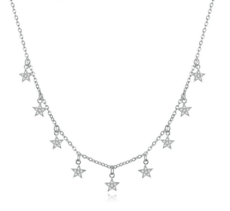 Stars choker silver necklace with cubic zirconia