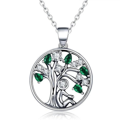 Silver Tree of Life Necklace with clear and green cubic Zirconia