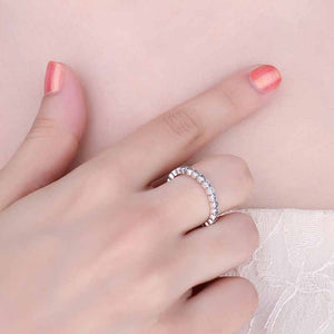 Eternity band Stackable Ring with Cubic Zirconia on woman
