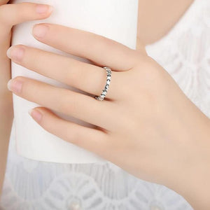Silver Star Stackable Ring on woman