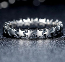 Load image into Gallery viewer, Silver Star Stackable Ring in black background