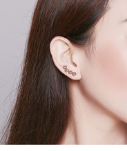 Load image into Gallery viewer, Paw trail earrings in rose gold on woman