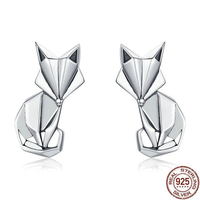 Fox stud earrings in silver