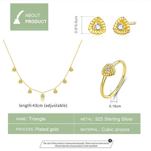bamoer Gold Color Silver 925 Jewelry New Fashion Triangle Necklae Stud Earringd Ring Jewelry Sets for Women Lady Bijoux ZHS169 in-dev
