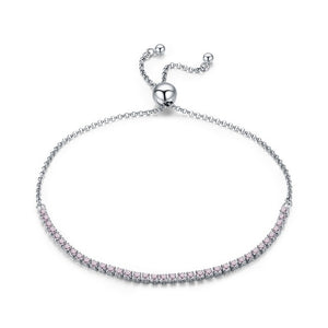 Adjustable Silver Bracelet with light pink Sparkling Cubic Zirconia