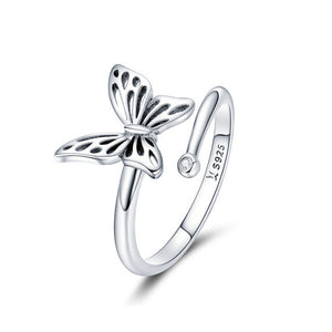 BAMOER Authentic 925 Sterling Silver Vintage Butterfly Adjustable Finger Rings for Women Wedding Engagement Ring Jewelry SCR448 in-dev