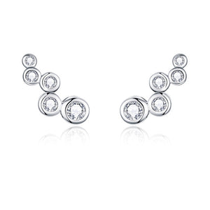 Trail bubble silver earrings with clear cubic zirconia