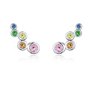 Trail bubble silver earrings with cubic multicolour zirconia