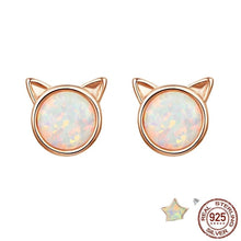 Load image into Gallery viewer, Cat ears stud earrings in rose gold with opal stone
