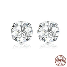 Load image into Gallery viewer, Silver earrings with clear cubic zirconia