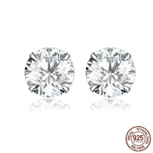 Silver earrings with clear cubic zirconia