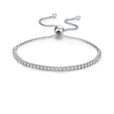 Adjustable Silver Bracelet with Sparkling clear Cubic Zirconia