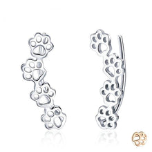 Load image into Gallery viewer, Paw trail earrings in silver