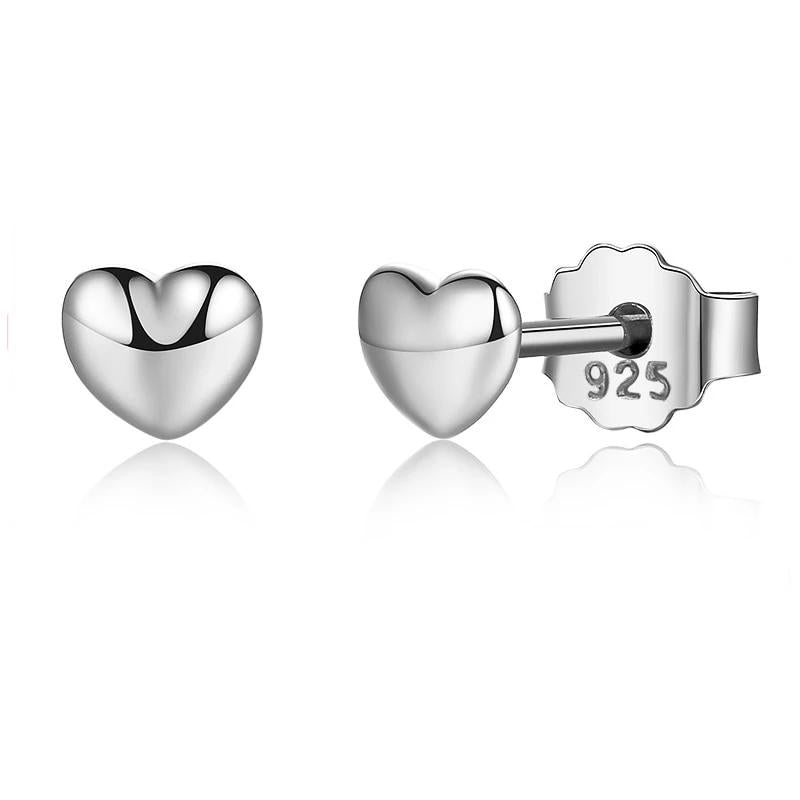 Petite miniature heart stud earrings in silver