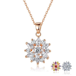 Flower necklace with cubic zirconia in rose gold with clear crystals, other finishing options available