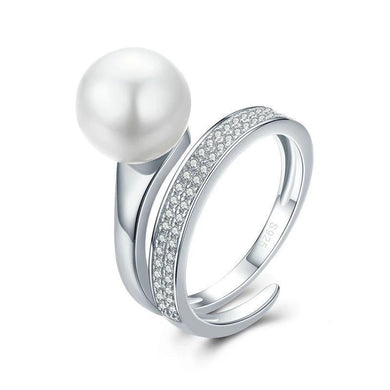 925 Sterling Silver Geometric Pearl Ring for Women