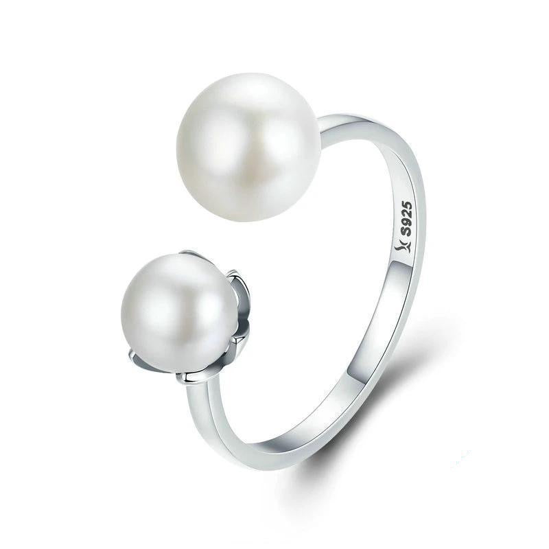 Adjustable Double Pearl Ring